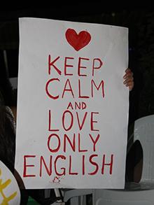 И вот, конечно, группа поддержки на англоязычных дебатах - болеем за Онли Инглиш!
